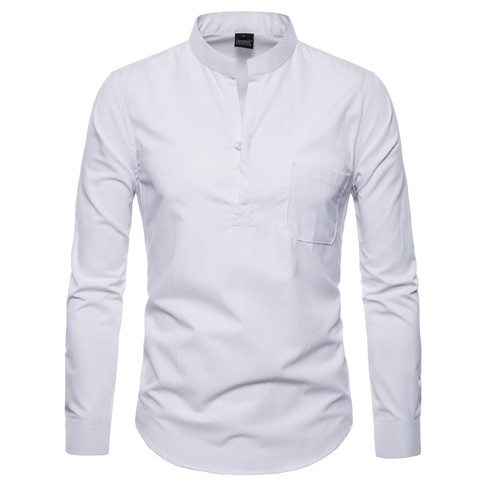 SWAGWHAT Men Casual Shirts 2019 Autumn New Fashion Solid Color Man Long Sleeve Cotton Slim Fit Casual Business Button Shirt Tops