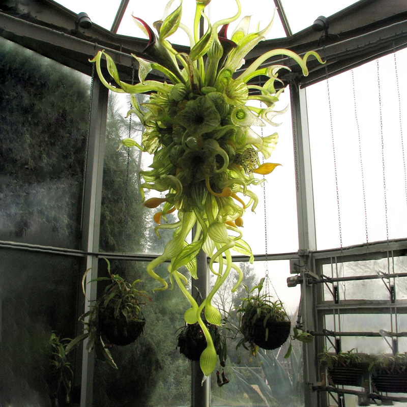 Indoor Green Shade Hand Blown Glass Nepenthes Chandelier Lamps Indoor LED Bulbs Foliage Miscellaneous Chain Chandelier Lighting