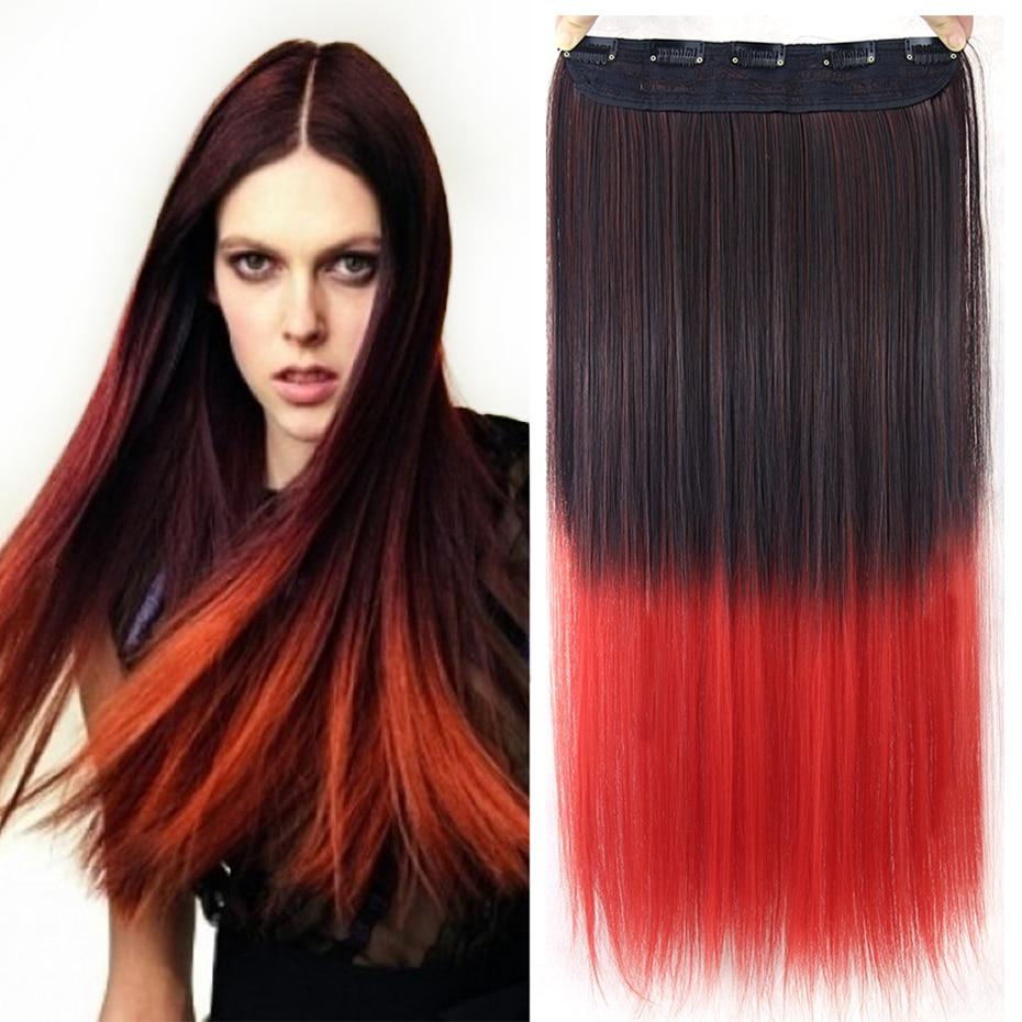 Soowee-extensiones de cabello sintético rojo y negro, horquillas para el pelo, pasadores, postizos