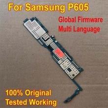Placa base de trabajo Original del Firmware Global para Samsung Galaxy Note 10,1 edición P605 circuitos lógica de la placa base del Cable flexible de la tarifa de la tarjeta