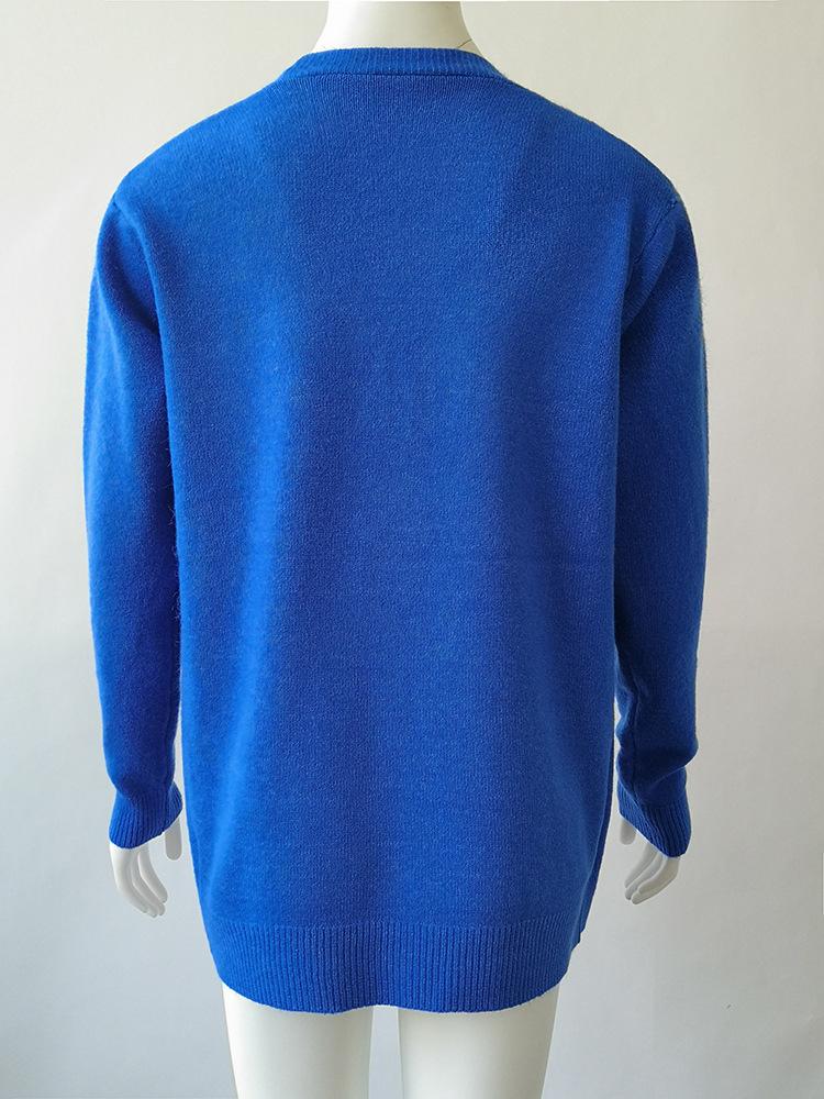 Женский трикотажный свитер с v образным вырезом и длинным рукавом
