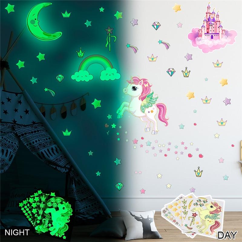 Светящаяся Наклейка на стену в виде единорога, s светится в темноте, звезды, радуга, единорог, наклейка на стену для детской комнаты, детской ...
