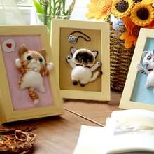 Незавершенный шерстяной войлочный Набор DIY кошачья рамка для фотографий, искусство, игольчатый Войлок набор для украшений материал ручной работы пакет