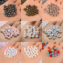 100Pcs Gold Heart Pattern Flat Round Acrylic Beads Spacer Loose Beads For Jewelry Making DIY Women Children Bracelet Necklace