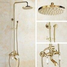 цена на Bathroom Rainfall Shower Set faucet 8 Luxury Golden Polished Brass Rain Bath Wall Mounted Shower Set Bathtub Mixer Tap agf362