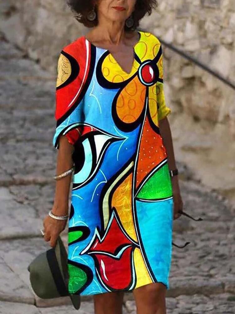 Elegant Women Dress Summer V-Neck Half Sleeve A-Line Dresses Female Vintage Button Loose Dress Vestidos