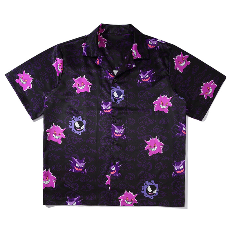 Mens Print Hawaiian Beach Shirts Harajuku Streetwear 2020 Summer Short Sleeve Blouse Punk Rock Unisex Oversize Shirts Tops
