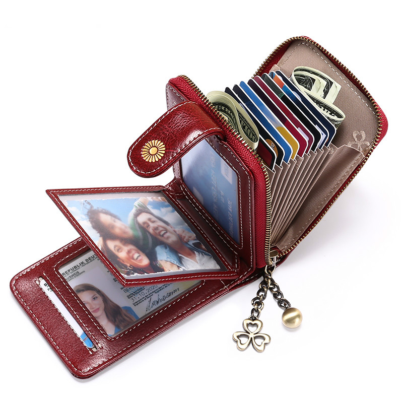 RFID Trifold  Women Leather Wallet Female Hasp Card Holder Women Female Money Purse Small Ladies Coin Bag