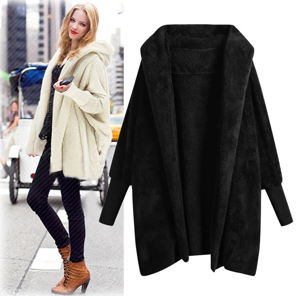 Women Warm Hooded Casual Sweatshirt Coat Ladies Winter Solid Plush Pockets Cotton Fashion Coat Female Long Sleeve Outwear