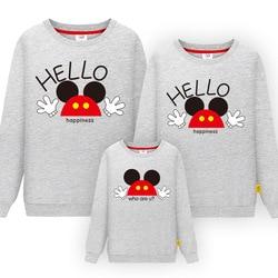 Correspondência da família Mickey Roupas de Manga Comprida Camisola Camisa Roupas Pai Mãe Filho Filha Mesmo Olhar Roupas Camisas do Pulôver