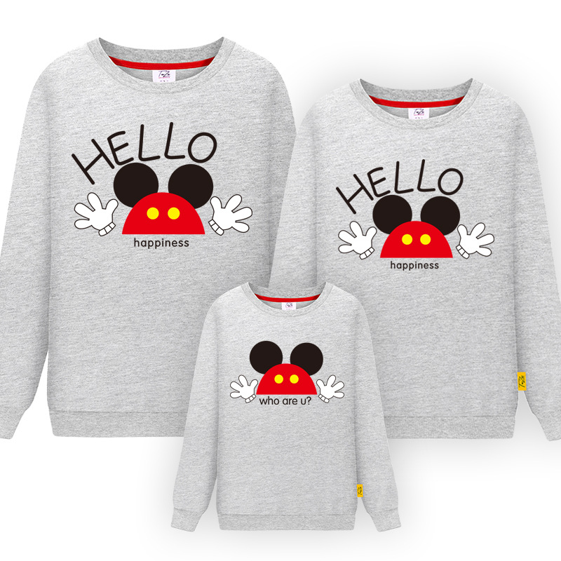 Family Matching Mickey Clothes Long Sleeve Sweater Shirt Mother Father Son Daughter Outfits Same Look Clothing Pullover Shirts