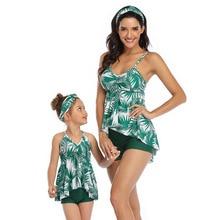 Swimsuit Bikini Beachwear Leaf-Print Family Kids Summer Girls New Green