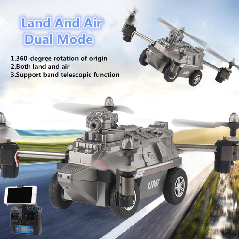 WIFI FPV Real Time Transmission Land Air RC Drone Tank 2.4G 720P HD Camera 2 IN 1 Remote Control Flying Tank Military Model Toy RC Helicopters     - title=