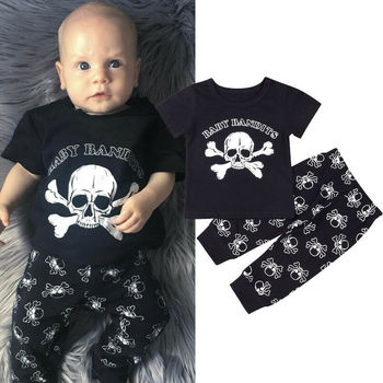 цена CANIS Toddler Kids Baby Boys Short Sleeve Fashion Skull Halloween Tops T-shirt Harem Pants Clothes онлайн в 2017 году