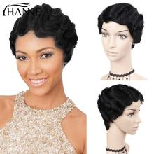 Short Finger Wave Wig Human Hair Wigs Mommy Hair Wigs for Black Women Natural Color/99J/4#/27#/30# HANNE Hair
