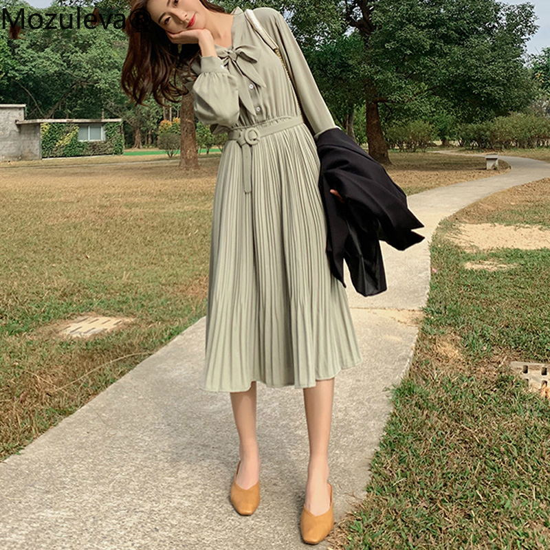 Mozuleva Vintage Bow Neck Single-breasted Women A-line Dress 2020 Spring Casual Elastic High Waist Belted Female Pleated Dress
