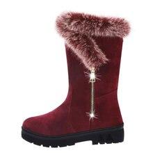Женские зимние ботинки на толстом каблуке с круглым носком и