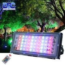 50 Вт светодиодный RGB прожектор светильник лампа AC 220V 230V 240V напольный светильник IP65 Водонепроницаемый отражатель Светодиодный точечный светильник с пультом дистанционного управления Управление