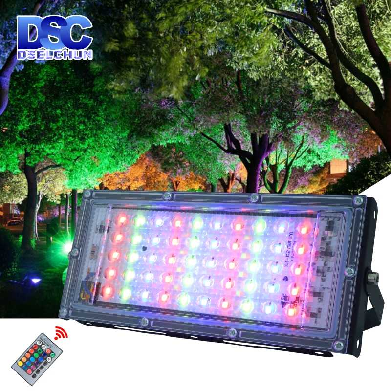 50W LED RGB Flood Light AC 220V 230V 240V Lampu Sorot Outdoor IP65 Tahan Air Reflektor Led lampu Sorot dengan Remote Control