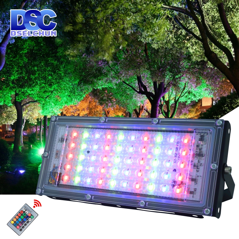 50W LED RGB Flood Light Lamp AC 220V 230V 240V Outdoor Floodlight IP65 Waterproof Reflector Led Spotlight With Remote Control