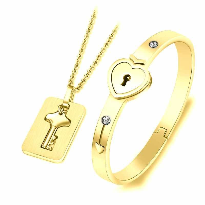 Um par de amantes jóias amor coração bloqueio pulseira pulseiras de aço inoxidável chave pingente colar jóias dropshipping