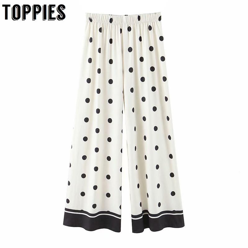 Summer Polka Dot White Trosuers Women Wide Leg Pants High Waist Streetwear Pantalones Mujer