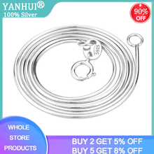 YANHUI With Certificate 40/45cm Silver 925 Necklace Women Fine 1MM Chain 925 Sterling Silver Jewelry Snake Chain Necklace CN001 jewelrypalace luxury pear cut 7 4ct created emerald solid 925 sterling silver pendant necklace 45cm chain for women 2018 hot