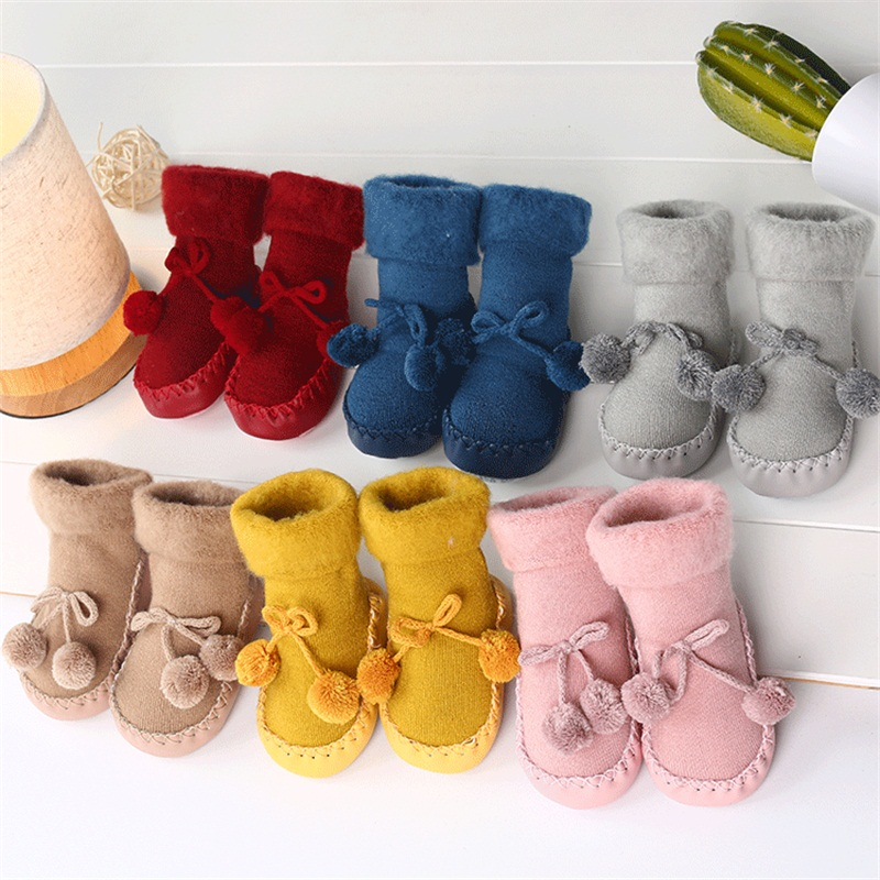 DOGEEK Winter Warm Baby First Walk Boots Floor Socks Shoes Boots Baby Plus Velvet Warm Toddler Shoes Non-slip Girls Crib Shoes