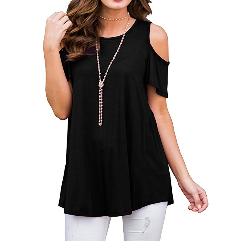 New Women Blouses Summer Casual Sexy Off Shoulder Blouse Batwing Short Sleeve Solid Shirt O-neck Loose Womens Tops And Blouses