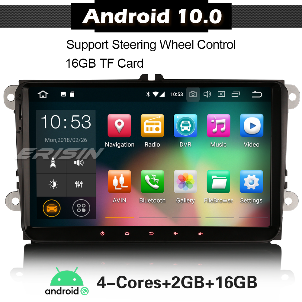 "4818 Android 9.0 Auto Stereo Voor Vw Golf 5 6 Touran T5 Seat Dab + Radio Autoradio Multimedia Speler 9 ""Touch Screen"