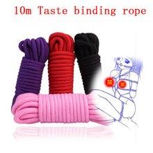Corde de retenue en coton épaisse de 10M, jouets de Roleplay pour Couples, produits pour adultes, Shibari Hogtie, Harnes