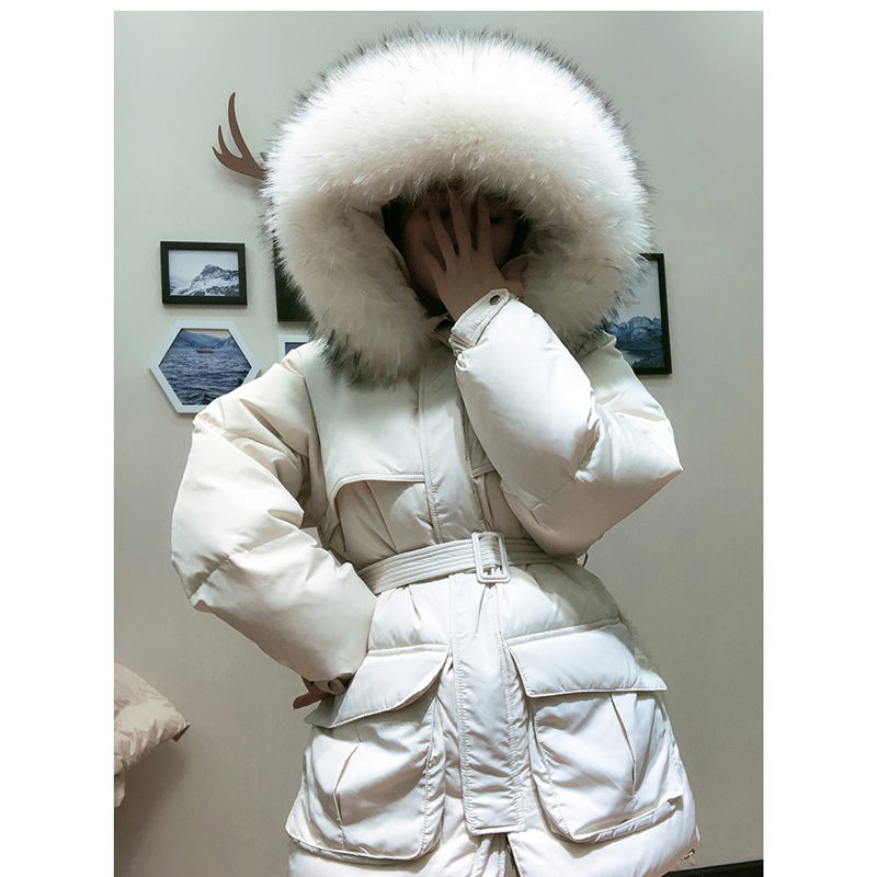 White Down Coat Winter Woman 2019 Fashion New Hooded Fur Collar Warm Thicken Cotton Clothing Casual Parkas Belt Overcoat F1401