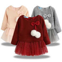цены на Autumn Winter Baby girls clothes long sleeve princess girls dress Ball of yarn Kids Clothes Children Party princess dresses 40  в интернет-магазинах