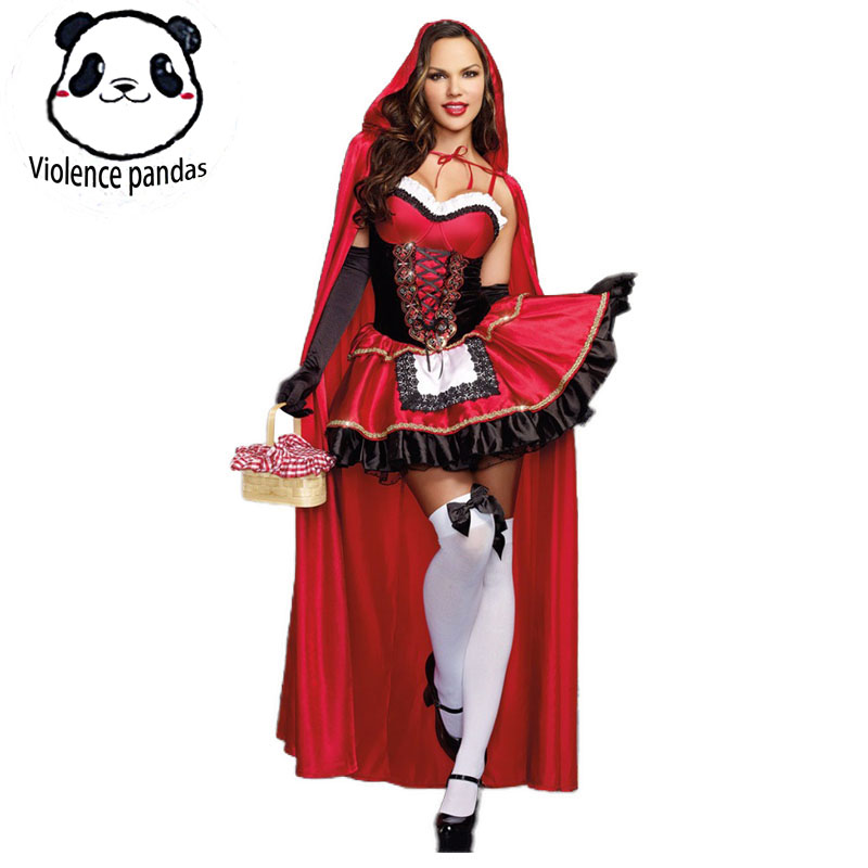 Little Red Riding Hood Costume For Women Fancy Adult Halloween Cosplay Fantasia Carnival Fairy Tale Size M-XXL Girl Dress+Cloak