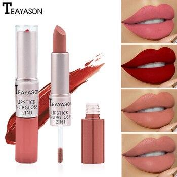 Dupla extremidade fosco batom & lipgloss 12 cores wateproof longa duração pigmento sombra blush lábios matiz maquiagem cosméticos tslm1