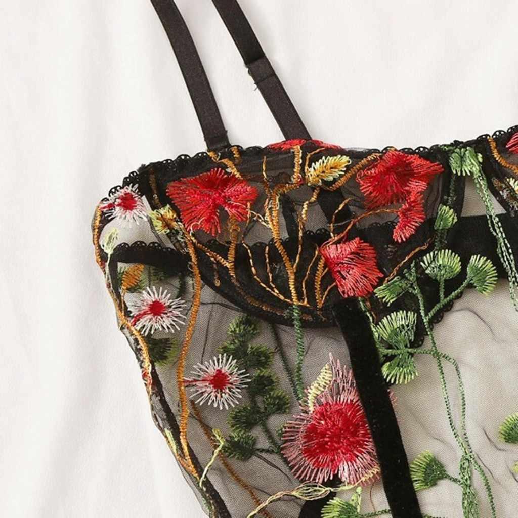 여성 란제리 중공 Bodysuit 꽃 수 놓은 Backless Jumpsuit 잠옷 바디 섹시한 잠옷 란제리 가죽 끈