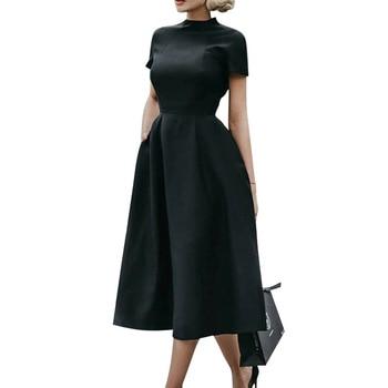 Sale Elegant Dress Women Party Night Formal Dress Midi 2020 Retro Dresses Fit Flare OL Summer Vintage Dress vestidos mujer D30 vintage net panel fit and flare dress