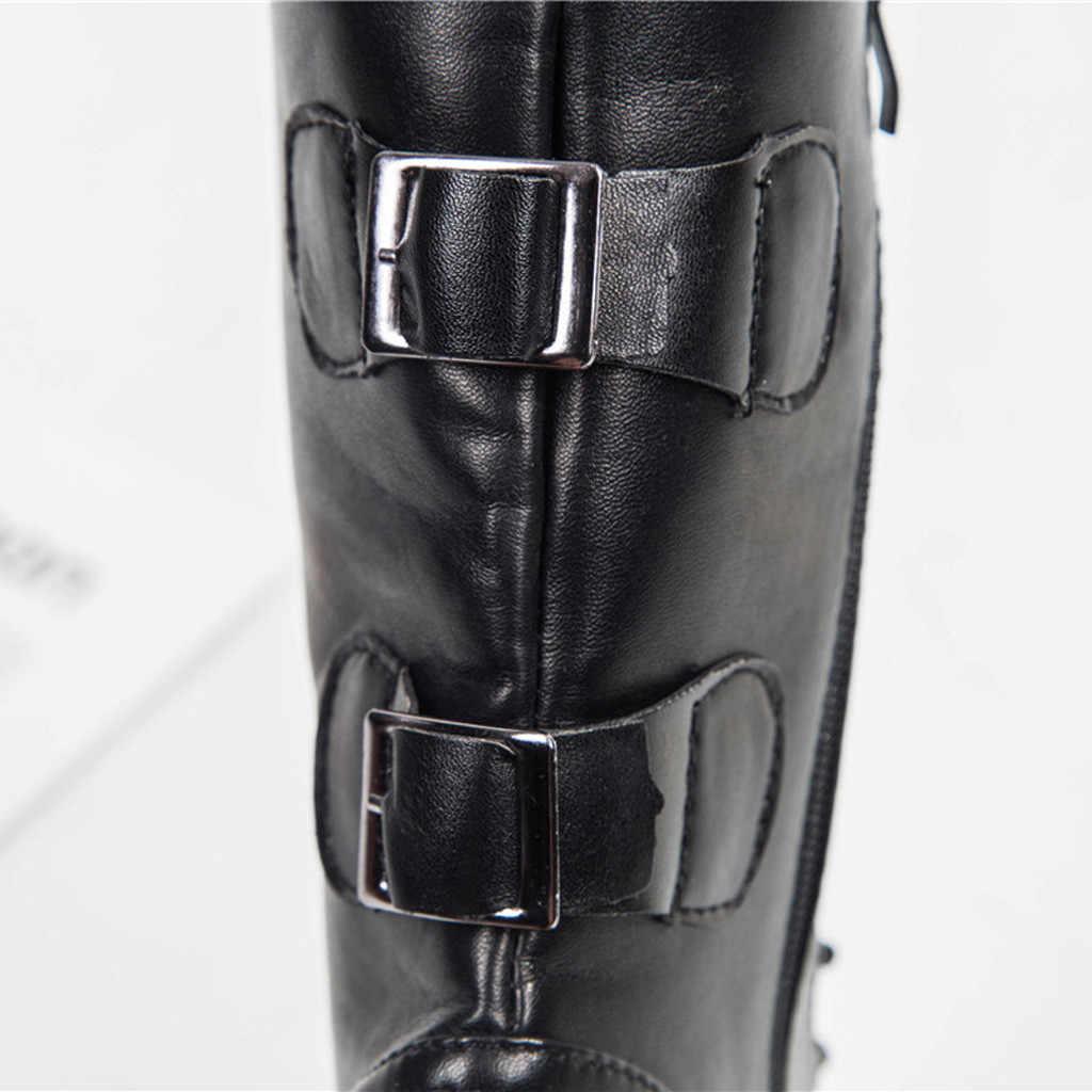 MAIOUMY binicilik botları kadın bayanlar roma kovboy yarım çizmeler fermuar orta buzağı kısa çizmeler ayakkabı kadın Botines Mujer 2019