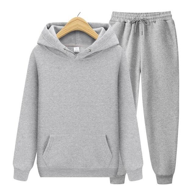 2020 new Men's ladies casual wear suit sportswear suit solid color pullover + pants suit autumn and winter fashion suit 6