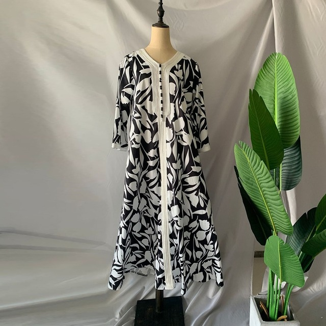 Ethnic Abaya Dress for Women Elegant Ribbon V Neck Long Sleeve Loose Plus Size Moroccan Turkey Arabic Muslim Clothes 3