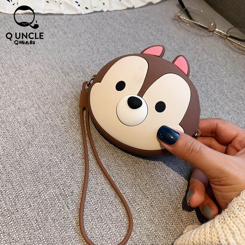 Q UNCLE Simple Candy Color Bags Small  Silicone Headphone Storage Purse Anti-lost Zipper Cute Fox Pattern Coin Pouch With Chain