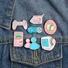Bags Game-Console Friends Jewelry Pins Badge Enamel-Brooches Rainbow Lapel Pink Blue