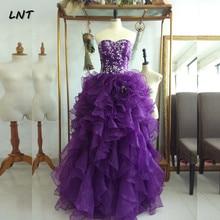 Плиссированные фиолетовые органза платья для выпускного вечера без рукавов, сверкающие бальные платья Quinceanera