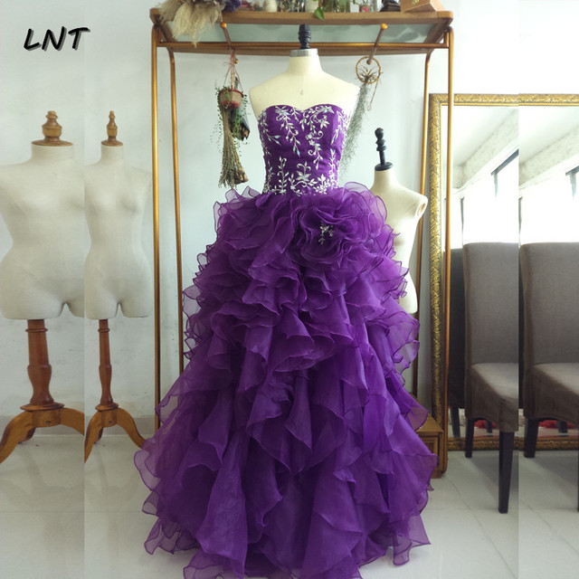Sleeveless Ruffled Purple Organza Quinceanera Dresses Sparkling Quinceanera Gowns