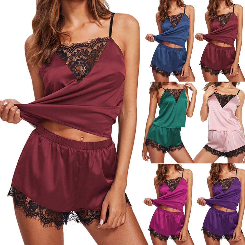 Women's Sleepwear Sexy Satin Pajama Set Black Lace V-Neck Pyjamas Sleeveless Cute Cami Top and Shorts sleep wear women's B4
