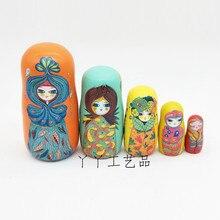 5 Teile/satz Linde Russische Matryoshka Puppen Bär Ohr Nesting Dolls Geschenk Russische Traditionellen Funktion Ethnische Stil Unisex Puppen