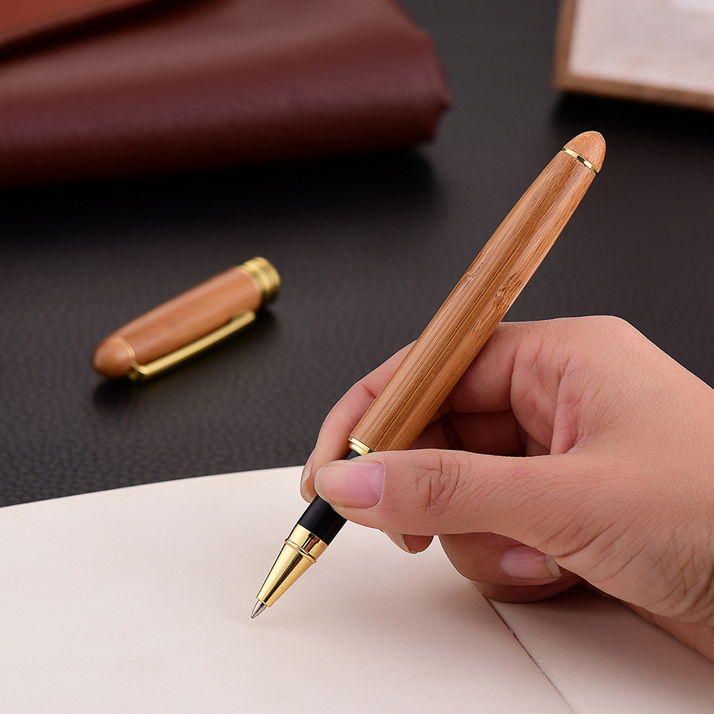 High Quality Bamboo Wood Ballpoint Pens Business Office Sign Pen School Student Writing Rollerball Pen Stationery Supplies 03746