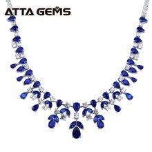 Женское серебряное ожерелье с голубым сапфиром, роскошное свадебное ожерелье, вечерние ювелирные украшения с сапфиром