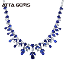 Blue Sapphire Sterling Silver Pendants for Women Wedding Engagement Luxury Necklace For Banquet Party Created Sapphire Jewelry