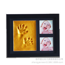 Concise Black Photo Frame Baby Newborn Growth Commemoration Handprint Mud Gift Environmental Gold Lacquer With Support Child